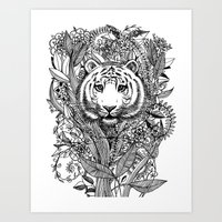 Tiger Tangle In Black An… Art Print