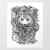 Tiger Tangle In Black An… Art Print