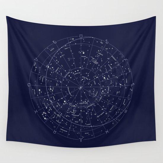 Constellation Map Indigo Wall Tapestry By Merlin Society6
