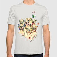 Butterfly Caught Mens Fitted Tee Silver SMALL