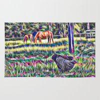 Horses And Hens In A Fie… Rug