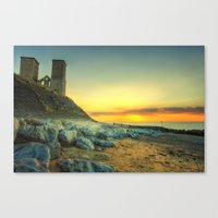 Reculver Towers At Sunset Canvas Print