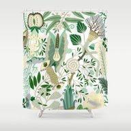 Green Flower Fantasy  Shower Curtain