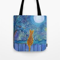 Cat On A Fence In The Mo… Tote Bag