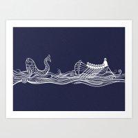 Sailors in a Row Boat & Fish Art Print