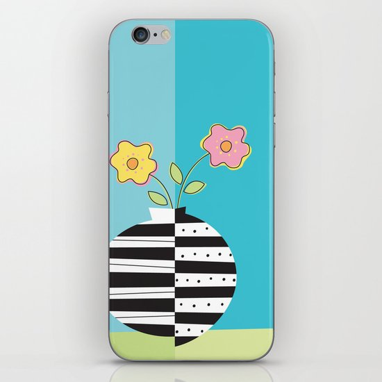 round whimsy vases with flowers iPhone & iPod Skin