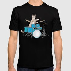 Cat Playing Drums - Blue Mens Fitted Tee SMALL Black