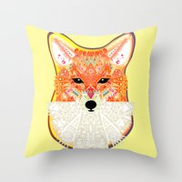 Fox In Blue Throw Pillow
