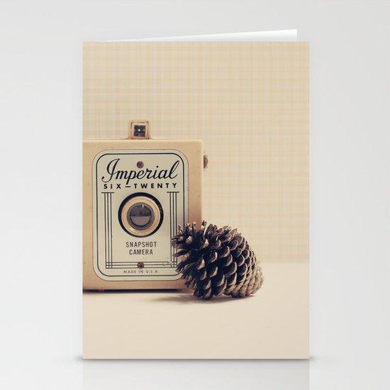Retro Camera and Pine Cone Stationery Card