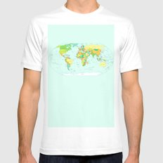 World Map Mens Fitted Tee SMALL White