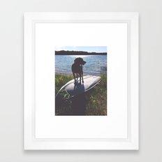 on a boat Framed Art Print