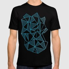 Abstraction Lines Watercolour SMALL Mens Fitted Tee Black
