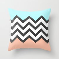 Color Blocked Chevron 4 Throw Pillow