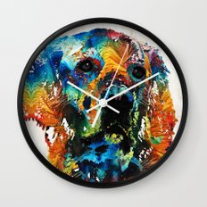 Colorful Dog Art - Heart And Soul - By Sharon Cummings Wall Clock