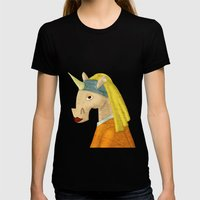 The Unicorn with the Pearl Earring Womens Fitted Tee Black SMALL