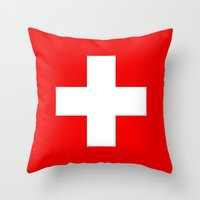 Flag of Switzerland - Authentic 2:3 scale version Throw Pillow