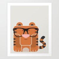 Hipster Tiger Art Print Art Print