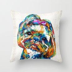 Colorful Shih Tzu Dog Art By Sharon Cummings Throw Pillow