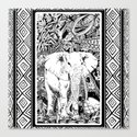 White Elephant Indian Ink Tribal Art Canvas Print