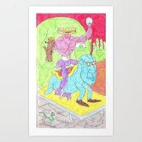 Sandwich man and his snowglobe Art Print