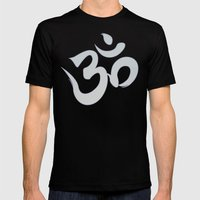 Mantra ... Aom In White Mens Fitted Tee Black SMALL