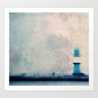 blue lighthouse Art Print