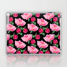 Peonies on black Laptop & iPad Skin