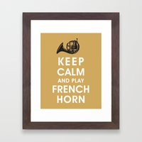 Keep Calm and Play French Horn Framed Art Print