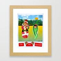 Red & Green Tidings Framed Art Print