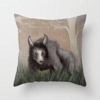 Forest Beastie Throw Pillow