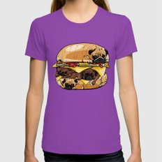 Pugs Burger Womens Fitted Tee Ultraviolet SMALL