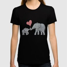 Elephant Hugs Womens Fitted Tee Black SMALL