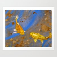 Pair Of Golden Koi Art Print