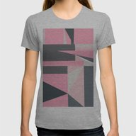 Modern Hot Pink Gray Abs… Womens Fitted Tee Athletic Grey LARGE