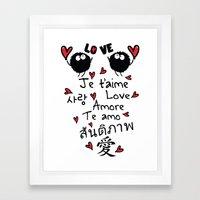 Love In Many Language Framed Art Print
