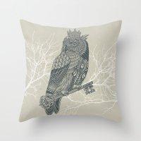 Owl King Throw Pillow