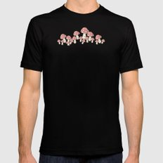 Mushrooms in Peach Black SMALL Mens Fitted Tee