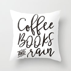Coffee Books And Rain Art Print Throw Pillow