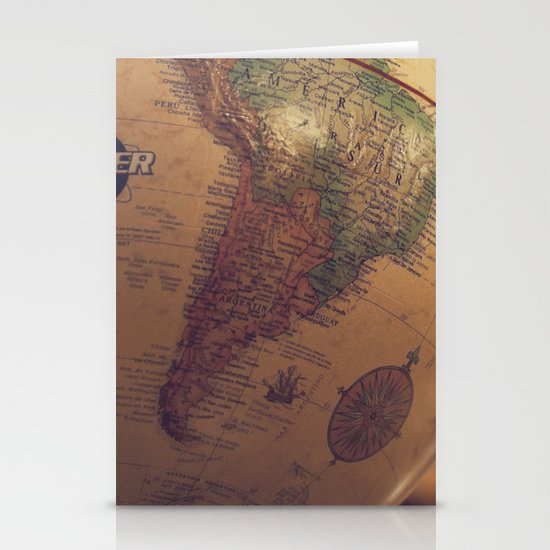 Globe Map Stationery Card