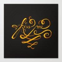 Kiss Me Typo Canvas Print