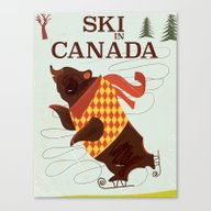Canvas Print featuring Ski In Canada Vintage Tr… by Nick's Emporium
