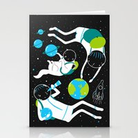 A Day Out In Space - Bla… Stationery Cards