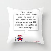 Mario ¿Qué Es La Vida? Throw Pillow