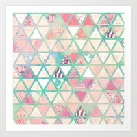 Pink Turquoise Abstract … Art Print