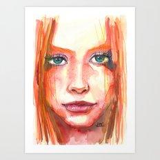 Portrait - RedHair & Freckles Art Print
