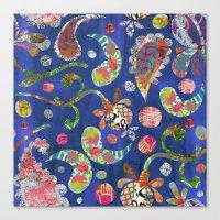 Blue Paisley Collage Canvas Print