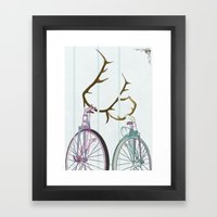 Bicycles in Love Framed Art Print