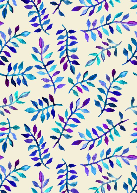 Hand Painted Purple & Aqua Leaf Pattern on Cream Art Print