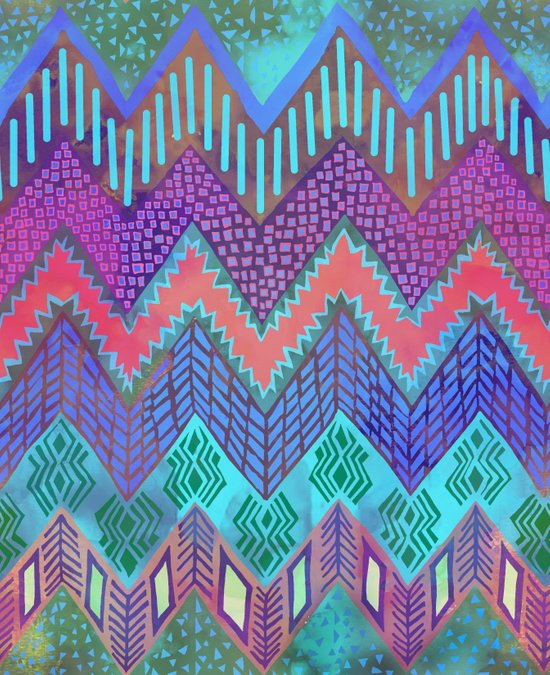 Tribal Chevron - Aqua Art Print