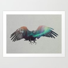 Eagle In The Aurora Borealis Art Print